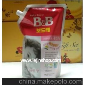 韩国保宁BB 婴儿衣物柔顺剂 清新香性 1300ML粉色 袋装