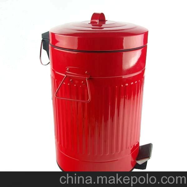 义乌厂家直销红色12升压边脚踏垃圾桶 不锈钢垃圾桶